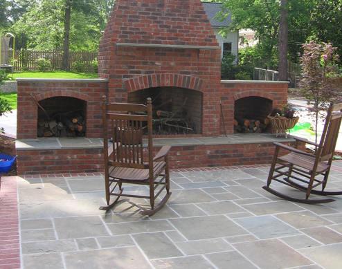 Flagstone Projects Brick Fireplace Bluestone Patio1